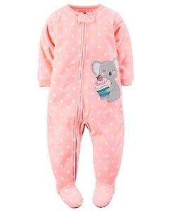 Carter's Girl's 3T, 4T, 5T Polka Dot Cupcake Koala Fleece Footed Pajama Sleeper