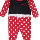 Disney Girl's 0-3, 3-6, OR 6-9 MINNIE MOUSE Sleep 'N Play Costume Romper