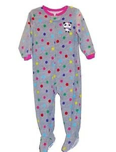 Carter's Girl's 3T Polka Dot Panda Bear Footed Fleece Pajama Sleeper