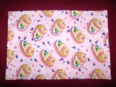 TRAVEL SIZE PILLOWCASE NEW HANDCRAFTED PINK WITH SLEEPING MICE