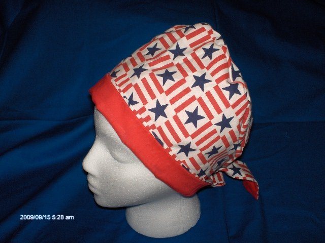 Ladies Surgical Medical Scrub Caps Handcrafted by Calicomaisey PATRIOTIC STARS
