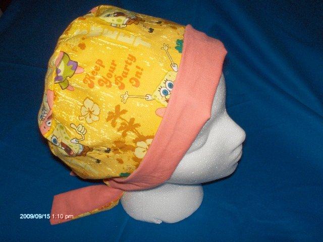 Surgical Scrub Hat Cap PIXIE EASY FIT SPONGE BOB and PATRICK LADIES