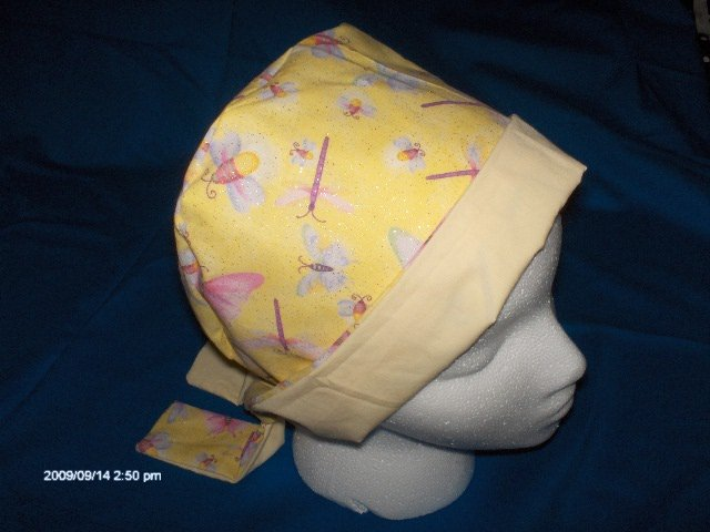 SURGICAL,MEDICAL,DOCTOR, SCRUB HAT, CAP,PIXIE TIE-BACK DRAGONFLIES BUTTERFLIES & SPARKLES