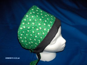 SURGICAL,MEDICAL,DOCTOR, NURSE LADIES PIXIE SCRUB HAT/CAP LITTLE FLOWERS ON GREEN