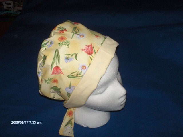 Surgical Scrub Hat Cap Pixie Easy Fit Ladies Pretty Flowers on Yellow