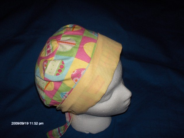 Surgical Scrub Hat , Chemo Cap Easy Fit PIXIE EASTER PASTEL EGGS