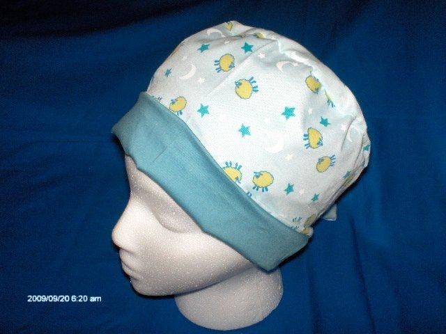 Cheap Scrubs Caps Hats Women's LITTLE SHEEP MOON & STARS ON LIGHT BLUE