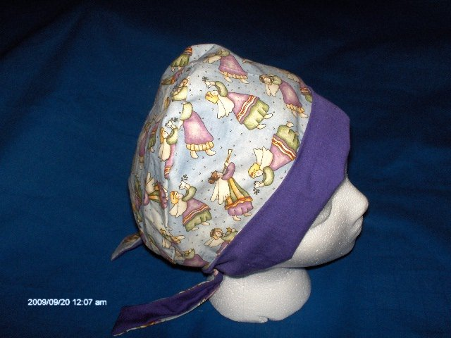 Surgical Scrub Hat Cap PIXIE TIE BACK CHRISTMAS ANGELS PEACE ON EARTH
