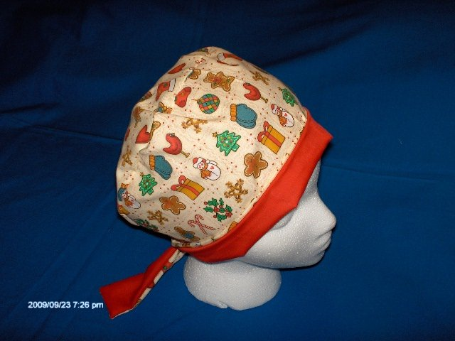 Surgical Scrub Hat CHEMO Cap PIXIE EASY FIT CHRISTMAS THEME HOLIDAY