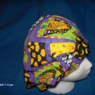 Surgical Scrub Hat Cap bouffant HALLOWEEN patches on purple
