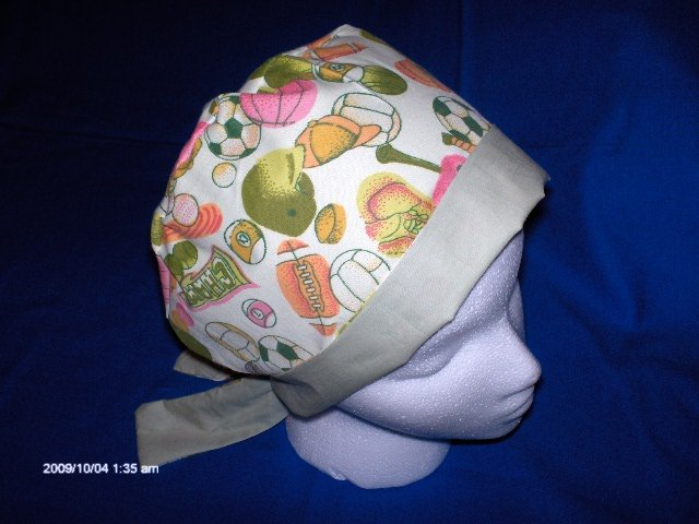 SURGICAL SCRUB CAP HAT PIXIE TIE-BACK ALL KINDS OF SPORTS GREEN