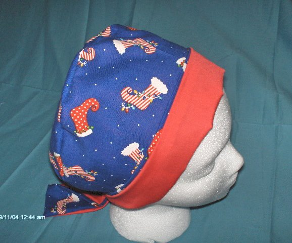 Scrub Caps Designer Pixie Bonnets by Calicomaisey CHRISTMAS STOCKINGS BLUE