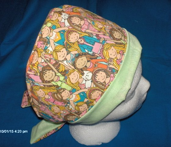 Surgical Scrub Hat Cap Pixie Easy Fit Ladies Lots OF LITTLE GIRLS