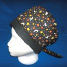 PIXIE TIE-BACK SURGICAL MEDICAL SCRUB CAP HAT MOON & STARS ON BLACK