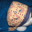 Ladies Fabric Surgical Scrub Cap Caps YANKEE DOODLE ROOSTER