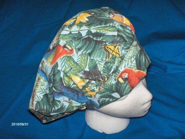 Ladies Surgery Hats  Bouffant Cap TROPICAL BIRDS AND BUTTERFLIES