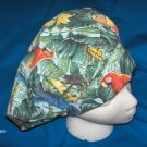 Ladies Surgery Hats  Bouffant Cap TROPICAL BIRDS AND BUTTERFLIES