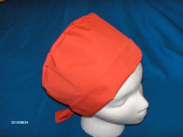 Ladies Pixie Tie-Back Scrub Cap Medical Hats Solid Red