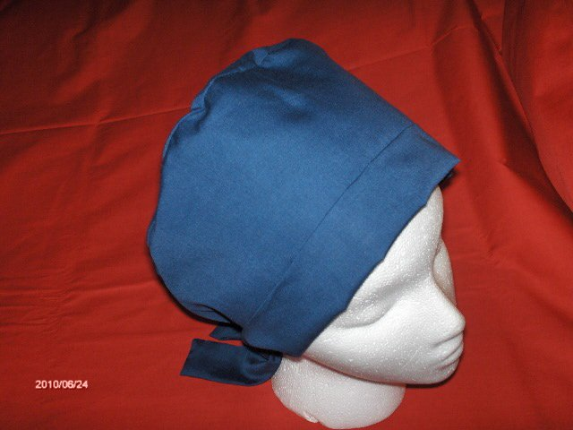 Ladies Reusable Cloth Surgical Medical Pixie Scrub Cap Solid Navy Blue