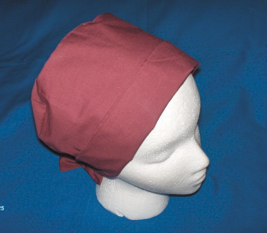 Ladies Fabric Hospital Surgical scrub caps Pixie Hat Solid Burgundy