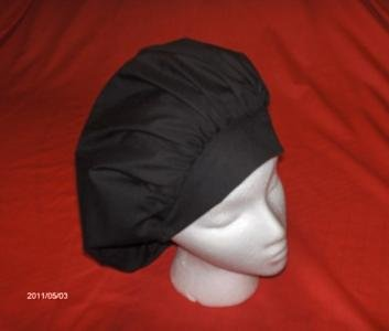 Ladies Nurses Scrubs Cap Banded Bouffant Hat SOLID BLACK