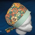 Ladies Pixie Scrubs Caps Surgical Medical Hat Hats COLORFUL FLOWERS ON GREEN