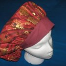 Banded Bouffants Ladies Medical Scrubs Surgical Scrub Hats GOLDEN WEBS ON BURGUNDY