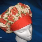 Ladies Banded Bouffants Scrub Cap Medical Hat Holiday Poinsettias