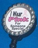 Retractable Badge Reel Breast Cancer Awareness I WEAR PINK FOR SOMEONE SPECIAL