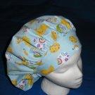 Ladies Nurses Scrubs Hat  EASTER Banded Bouffant Scrub Cap Hats Blue