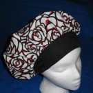 Ladies Surgical Medical Scrub Hat Cap Banded Bouffant ROSES AND BLACK