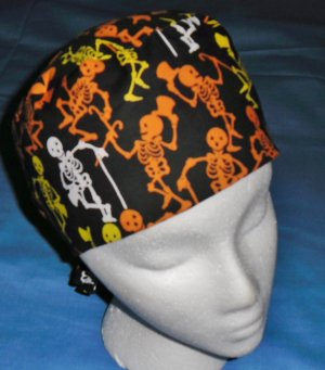 Mens Halloween Quality Unisex Scrub Hats for You Medical Caps Dancing Bones