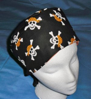 Mens Halloween Quality Unisex Scrub Hats for You Medical Caps PIRATES SKULLS