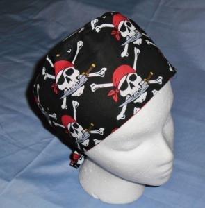 Mens Doctors Scrub Techs Quality Unisex Scrub Hats Medical Caps SKULLS RED