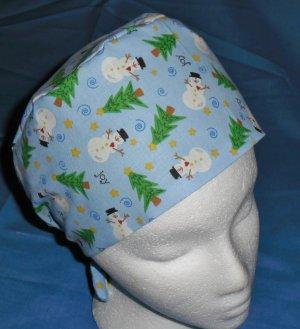 Mens Doctors Scrub Techs Quality Unisex Scrub Hats Medical Caps LITTLE SNOWMEN