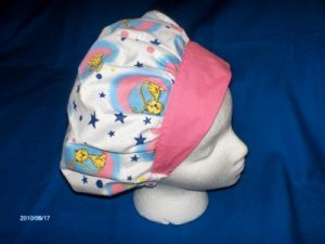 Ladies Handcrafted Hospital Surgery Scrubs Banded Bouffant Caps CAT ON THE MOON