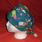 Handcrafted Ladies Fabric Surgical Scrubs Scrub Cap Pixie Tie-Back Hat ELEPHANTS DARK GREEN