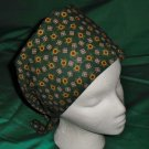 Nurses Ladies Fabric Surgical Scrubs Scrub Cap Pixie Tie-Back Hat LOTS OF TINY FLOWERS DARK GREEN