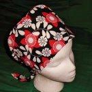 Fun Fashions Scrubs Scrub Cap Scrub Hats Nurses Surgery Caps Women Pixie Hat BIG RED FLOWERS