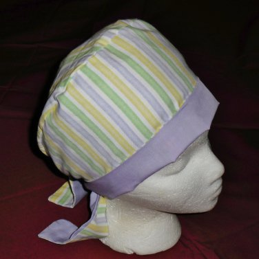Ladies Womens Pixie Hats Surgical Medical Scrubs Scrub Cap Hat Handcrafted Pastel STRIPES