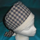 Ladies Scrubs Uniforms Surgical  Caps Medical  Hats NAVY and BEIGE PLAID