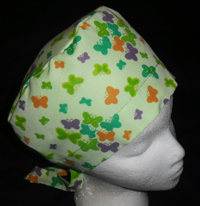 SURGICAL MEDICAL SCRUB CAP HAT PIXIE TIE-BACK LITTLE MULTI-COLORED BUTTERFLIES