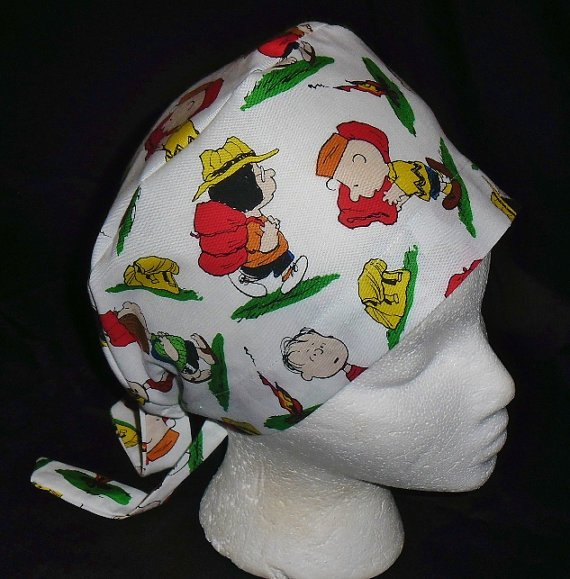 PEANUTS CHARLIE BROWN AT CAMP Nurses Surgical Scrubs Hat Scrub Caps Fabric Pixie Ladies White