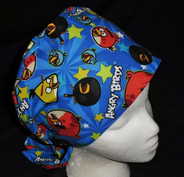 Angry Birds Blue Hats For Women Ladies Nurses Surgical Scrubs Hats Scrub Caps Reusable Fabric Pixie