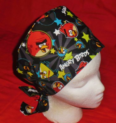 Angry Birds Black Hats For Women Ladies Nurses Surgical Scrubs Hats Scrub Caps Reusable Fabric Pixie