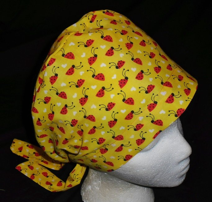 Ladies Nurses Scrubs Surgical Medical Scrub Caps Cap Affordable Lots Of Red Ladybugs