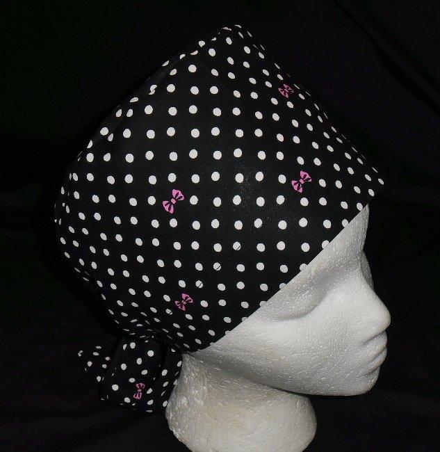 Ladies Nurses Scrubs Surgical Medical Scrub Caps Cap Black With White Polka Dots
