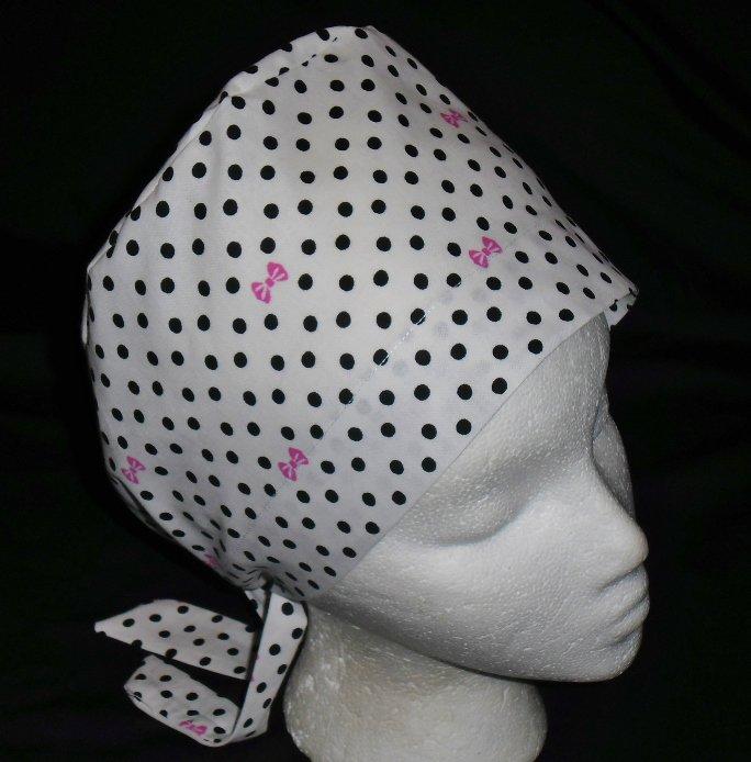 Ladies Nurses Scrubs Surgical Medical Scrub Caps Cap White With Black Polka Dots