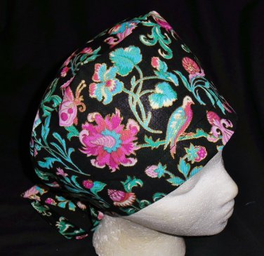 Nurses Ladies Surgical Scrubs Scrub Hat Cap Cancer Recovery Chemo Caps Black With Gold Metalics