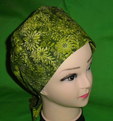 Lots Of Green Nurses Surgical Scrubs Scrub Caps Ladies Pixie Hat Cancer Recovery Hats